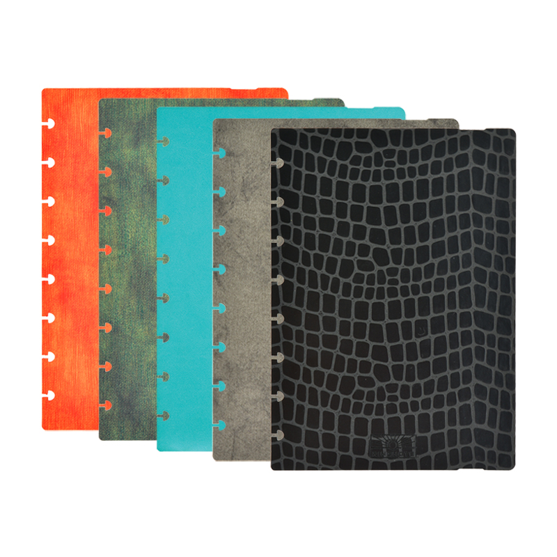 Disc Binding notebook cover pre-punched holes made of THIN PU for RINGNOTE disc bound planner 2021 and leather embossed journal