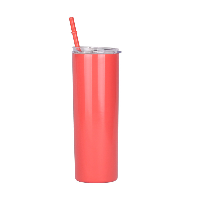 Unionpromo Custom 20oz 304 stainless steel Straight vacuum cup with drinking straw double wall vacuum Insulation cup