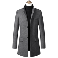 Men's Stylish Single Breasted Wool Walker Coat Thick Winter Jacket 4 Colors