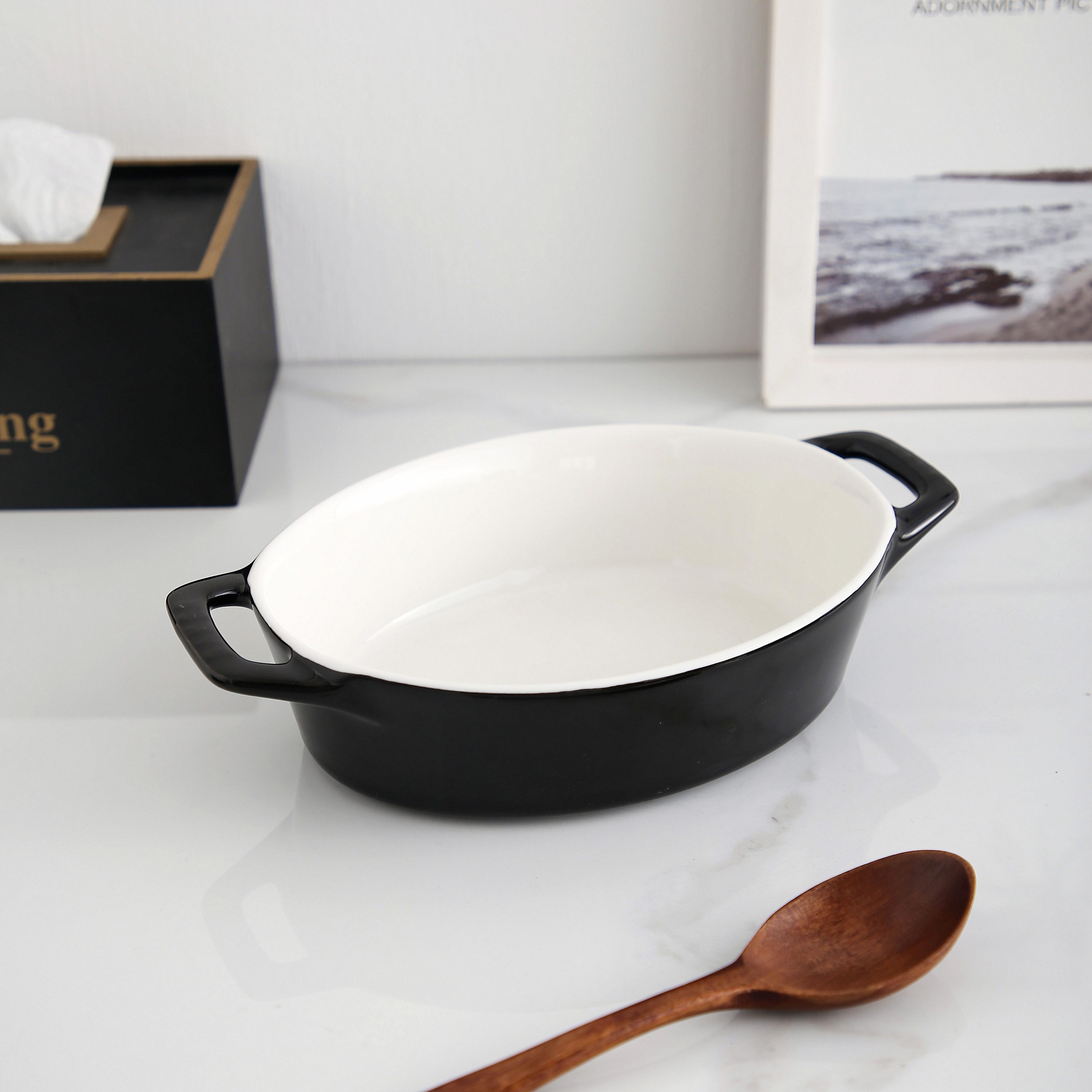 नई आगमन अच्छी गुणवत्ता काले रेस्तरां के लिए अंडाकार आकार सिरेमिक bakeware