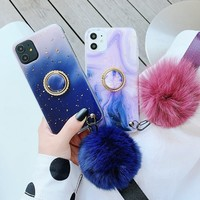 Custom Design Cases for iPhone 11 Pro Max 5.8 Hybrid Glue TPU Marble Print Phone Cover 8 6s 7Plus X with Fur Ball Strap for Girl