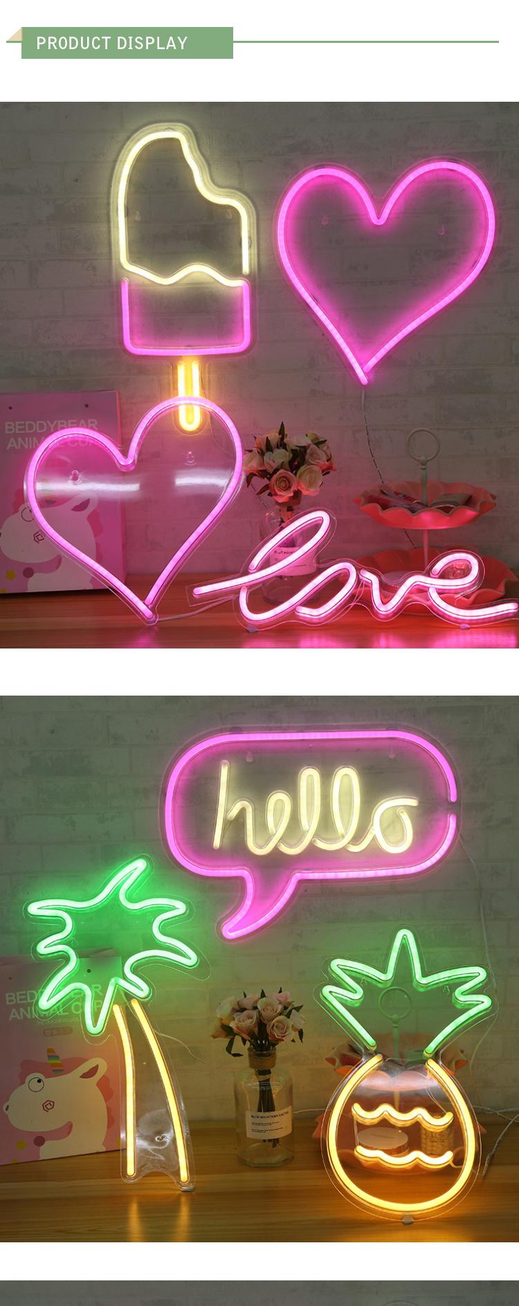 Сердце Любовь Usb кабель свадьба и празднование фестивалей LED Красочный неоновый знак