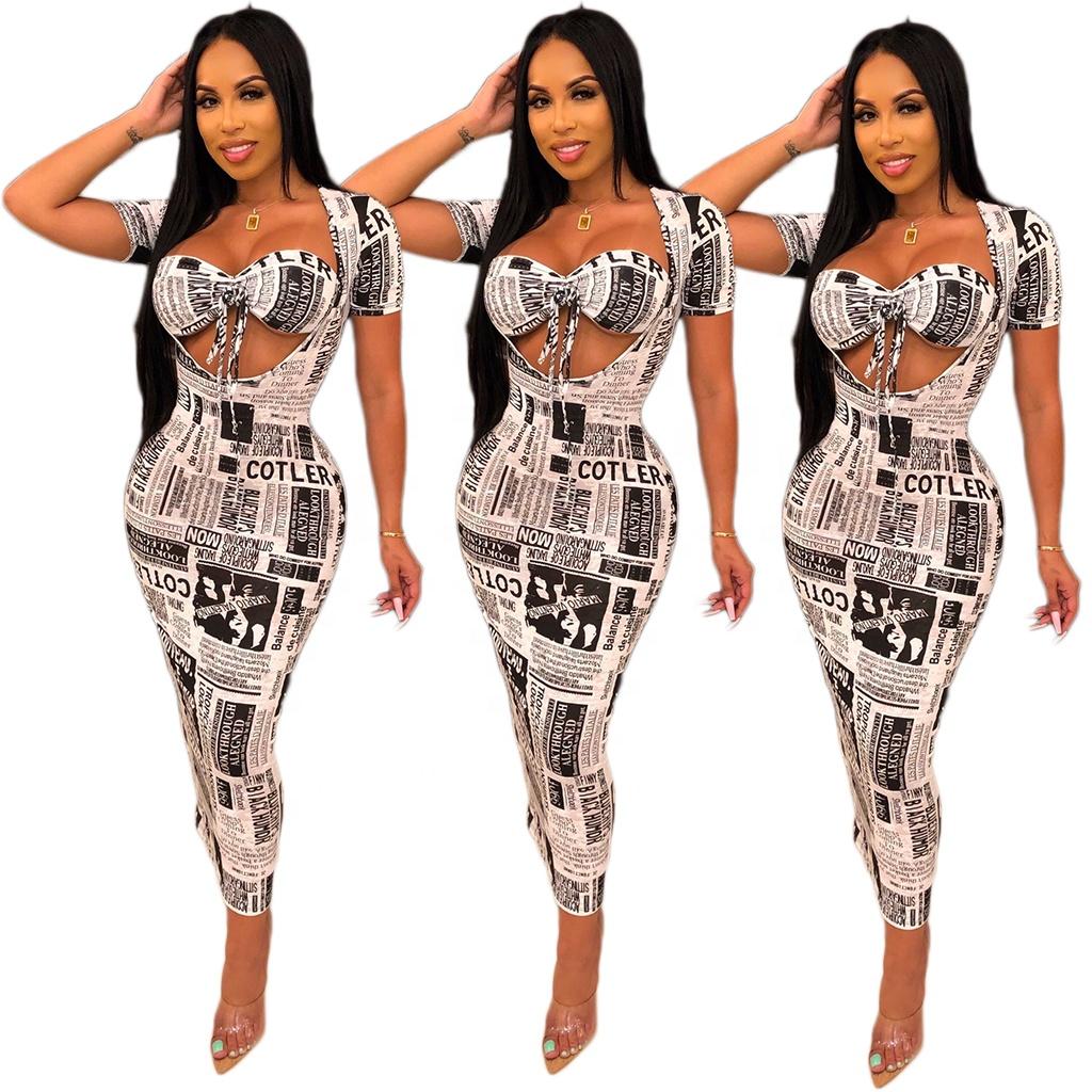 Nouveau design femmes vêtements Offre Spéciale journal impression robes sexy serré paquet hanche jupe