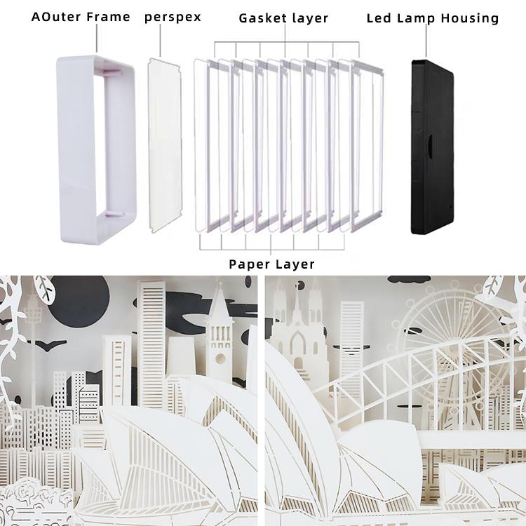 2020 Papercut Scatole di Luce, 3D Scatola di Ombra Ha Condotto La lampada Della Luce di Notte, Decorativo Luce di Umore per Bambini e Adulti