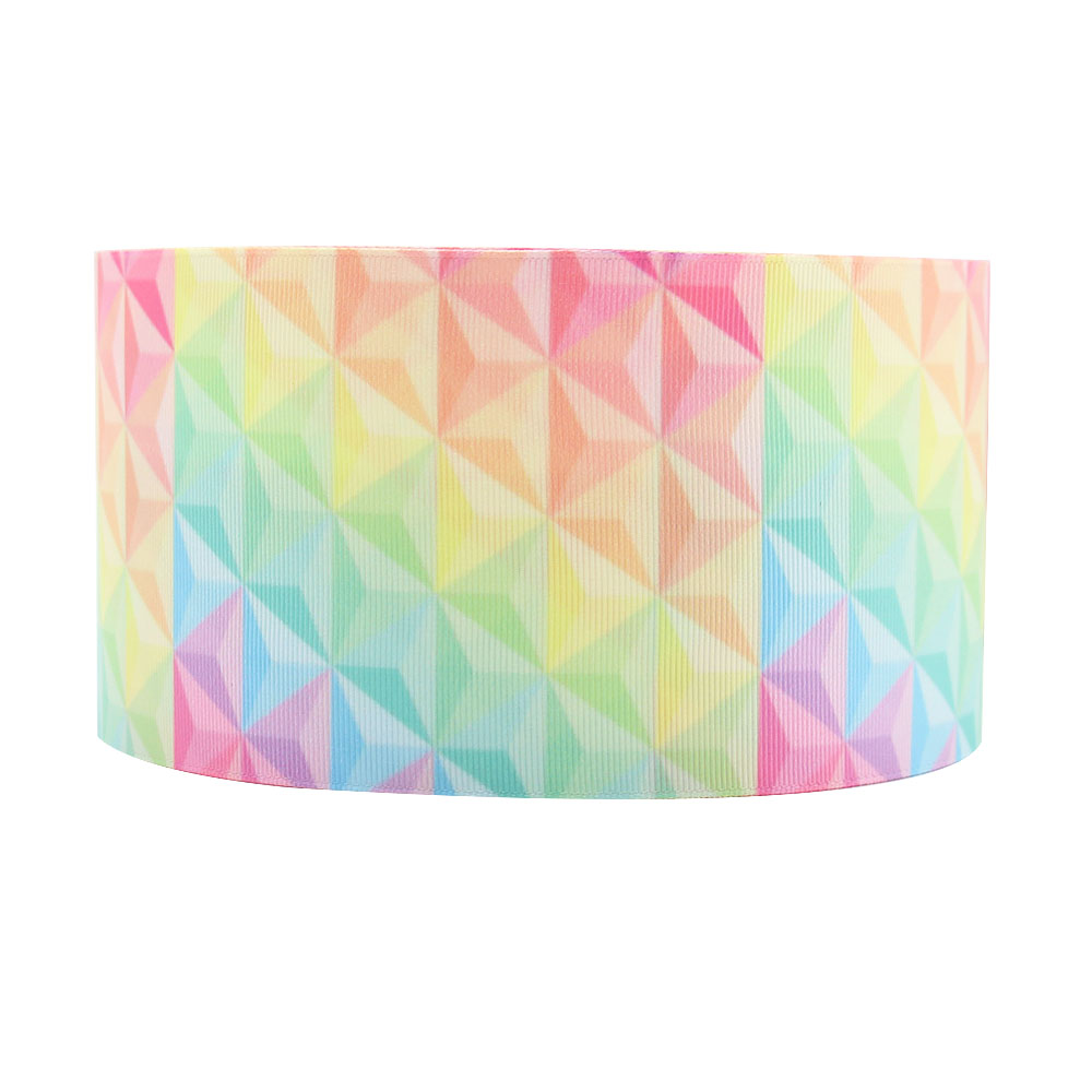 Fashion Wholesale 3 Inch Ink Printed Rainbow Color Custom Personalized Grosgrain Printing  Ribbon
