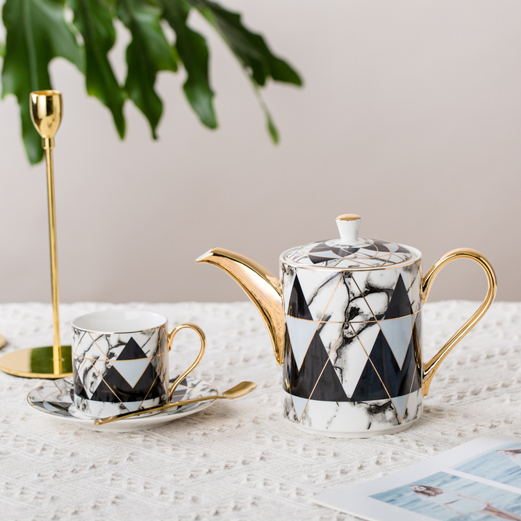 Custom printing marble design 15pcs coffee set ceramic coffee cup saucer bone China tea set