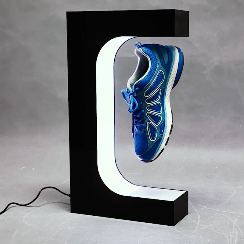Fashion levitating magnetic floating shoes display stand and shop display for shoes fancy sever shoes display unit
