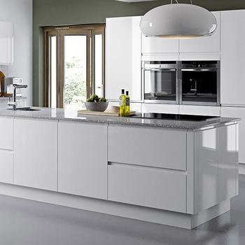 High Gloss White Melamine Vinyl Wrap Door Display Kitchen Cabinet