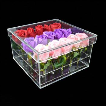 Clear Cube Acrylic 16 Rose Clear Plastic Custom Box Luxury Rectangular Wholesale Flower Display Box