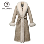 Women's Casual Faux Shearling Leather Jacket/Coat Real Rex Rabbit Fur Lining with Large Natural Fox Fur Collar