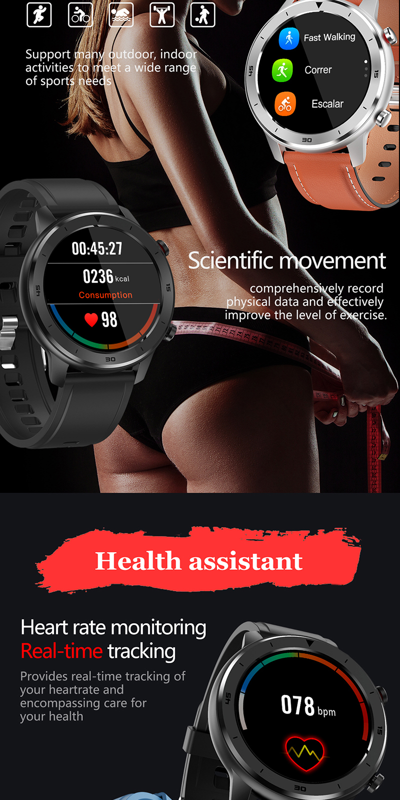 IP68 Waterproof Full Touch Screen Smart Watch DT78 With Call Reminder Blood Pressure Heart Rate Monitor Smart Watch