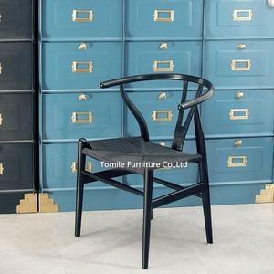 The High Quality Wishbone Chair Black Y-Chair Solid Wood Dining Chairs Rattan Armchair /Professional factory