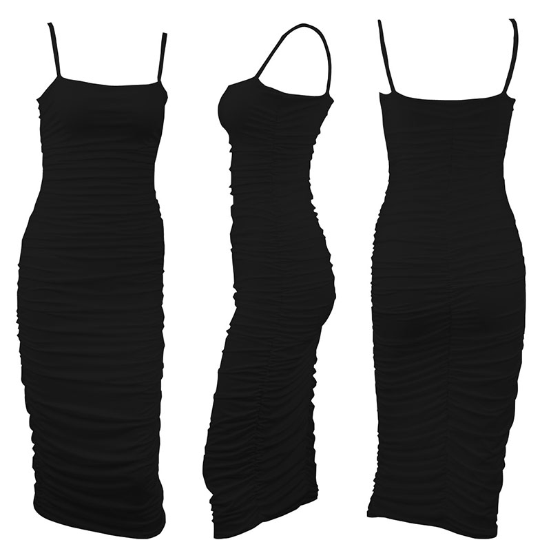Sexy Women Sling Strappy Backless Ruched Dress Sleeveless Party Midi Dress