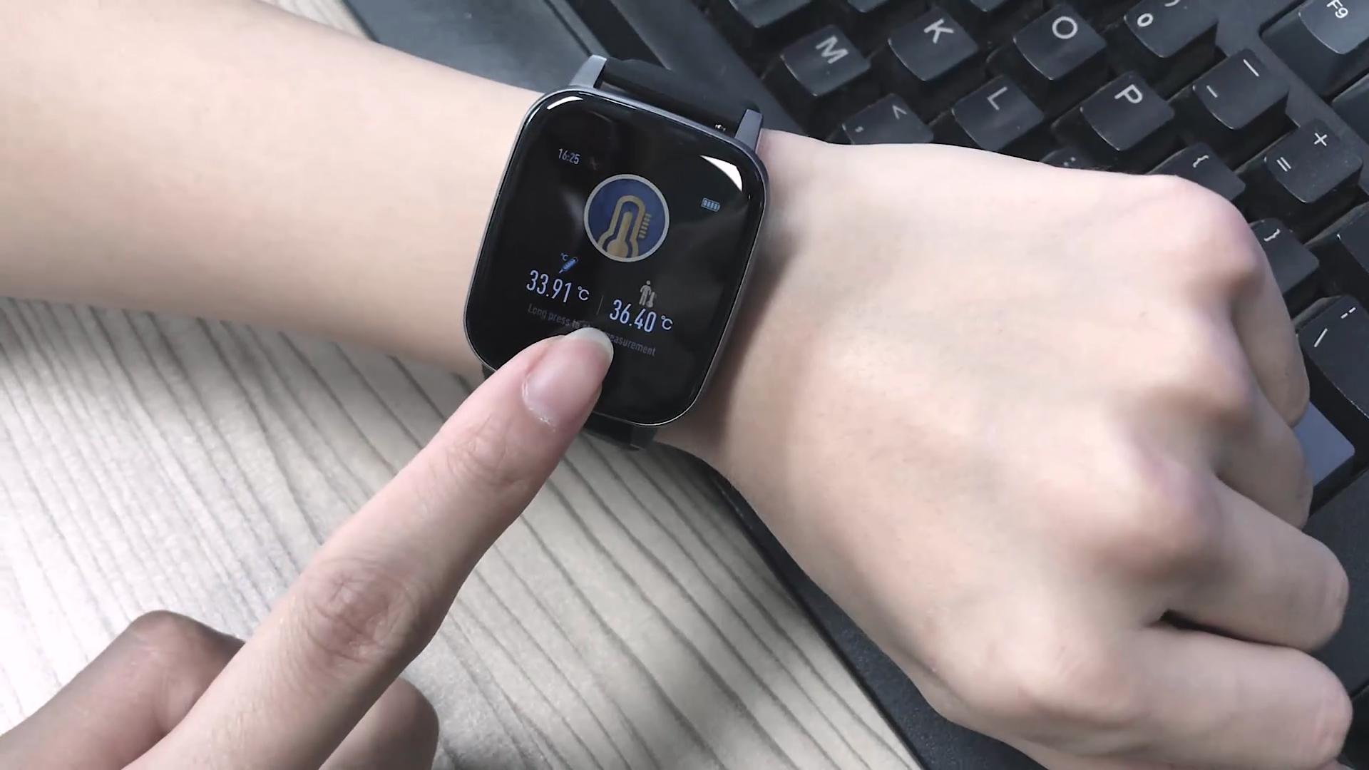 T1 Smart Watch Mini Thermometer, Denyut Jantung Kebugaran Gelang Olahraga Watch