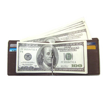 Slim Soft Original Crazy Horse Leather Mens Wallet With Money Clip
