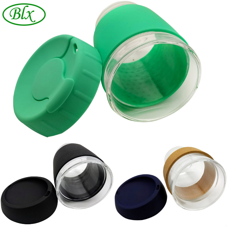 BLX Biểu Tượng Tùy Chỉnh 12oz 8oz Du Lịch Không Bị Rò Rỉ Thủy Tinh Giữ Tái Sử Dụng Cốc Cà Phê Lại có thể sử dụng Mug với Silicone nút chai Tay Áo Nắp Bán Buôn