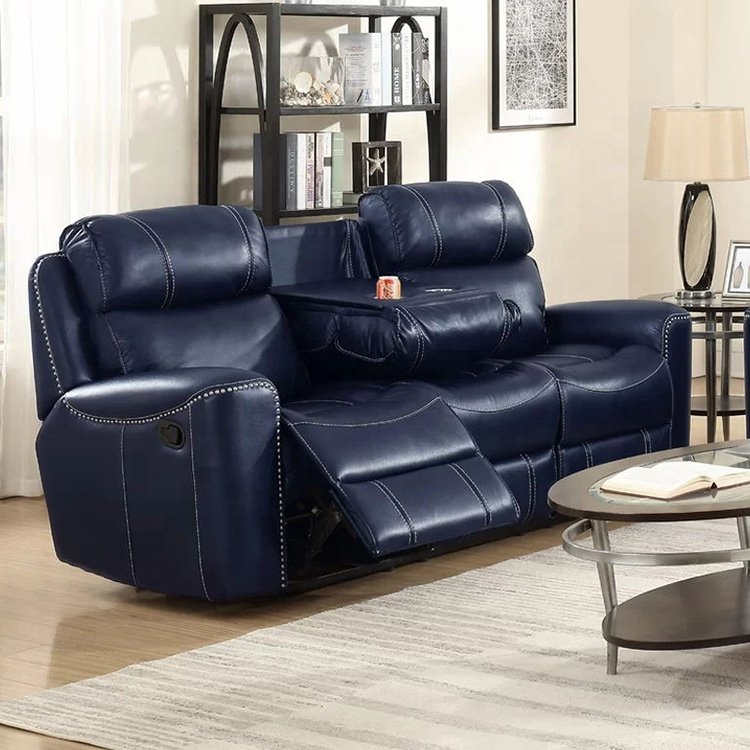 Sectional Leather Recliner Sofa Set