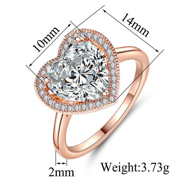 Big Gemstone Stone Jewellery Plated Rose Gold Jewelry Fashion Women Heart-shaped Ring