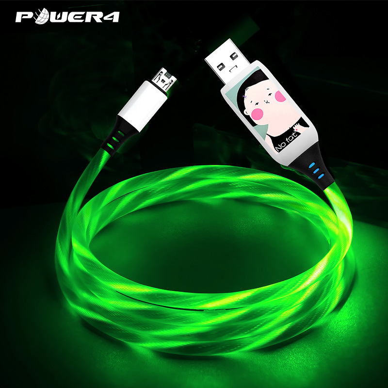 Micro USB Cable LED Light Flowing Visible Up Luminescent 4A large curren quick Charging Android Cable for OPPO/VIVO/Xiaomi