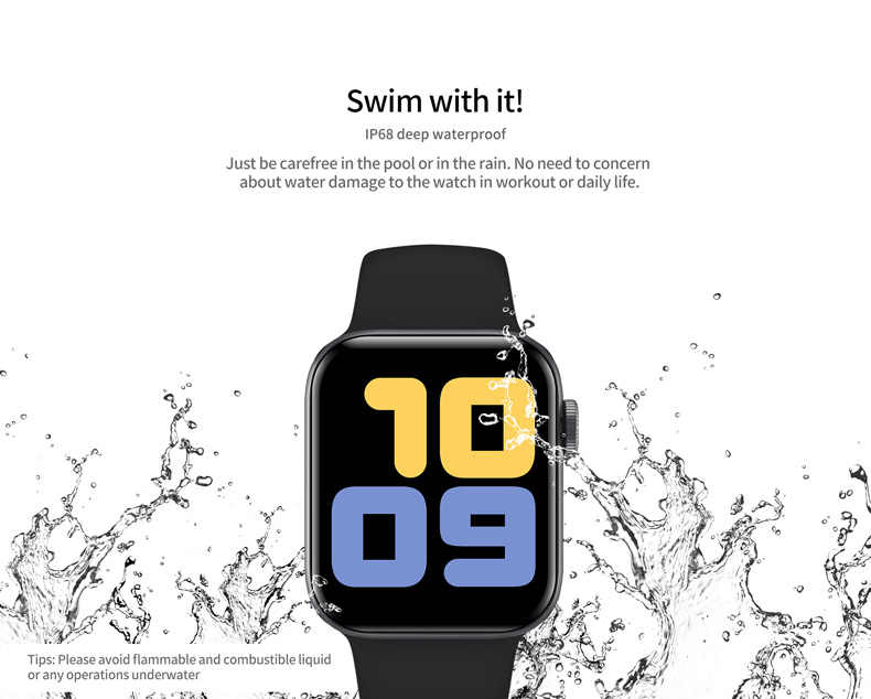 IP68 V52 Waterproof women swimming watch smart Full Touch Screen for Android IOS