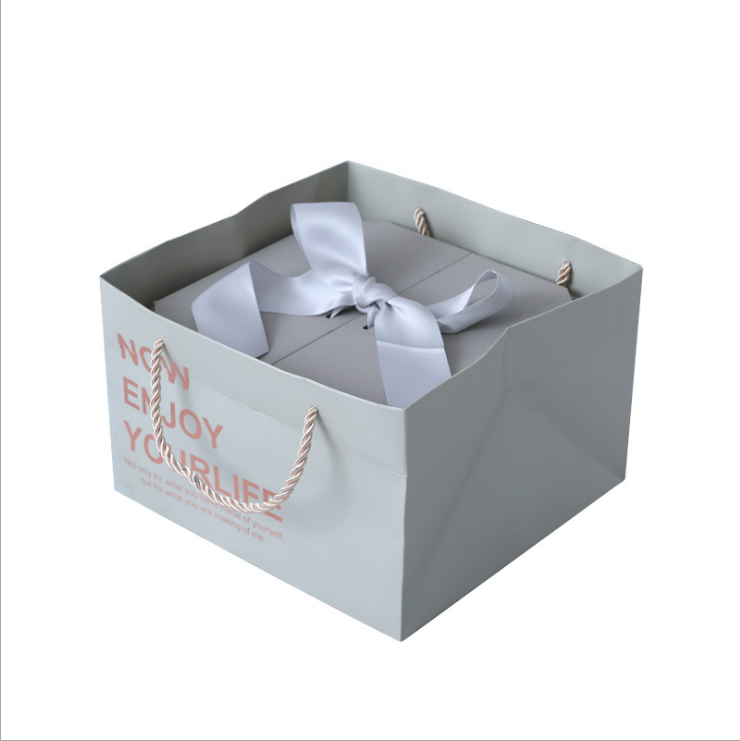 Custom pink folding boxes luxury square gift packaging box with ribbons