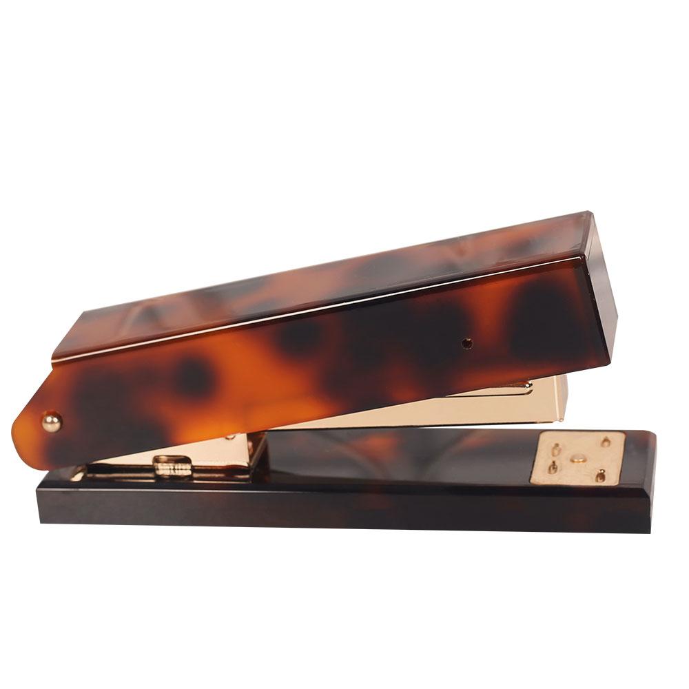 Heavy Duty 24/6 & 26/6 Acrylic desktop stapler rose gold Tortoiseshell Color Paper leopard print book Binding Stapler