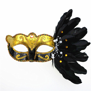 wholesale customized Christmas Halloween feather painted mask for birthday party supplies