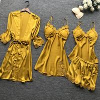 Hot new retail products four pieces sets women summer homewear bridal robe silk bathrobe