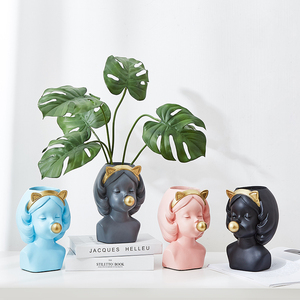 resin planter winking girl head planters face resin pot vase planter plant pots with faces resin girl vase