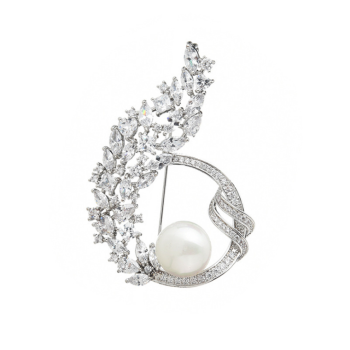 Hot selling flower pearl brooch female Classic alloy inlaid diamond Silk Scarf Buckle Clip Pin Brooch