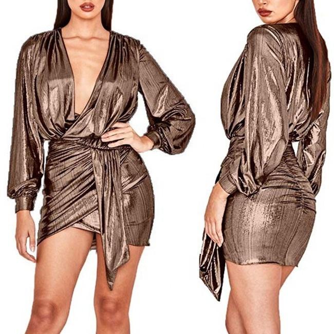 ร้อนขายเซ็กซี่ลึก V คอชุดมินิคลับผู้หญิง METALLIC Draped ด้านหน้าแขนยาวเงา Clubwear ชุดปาร์ตี้