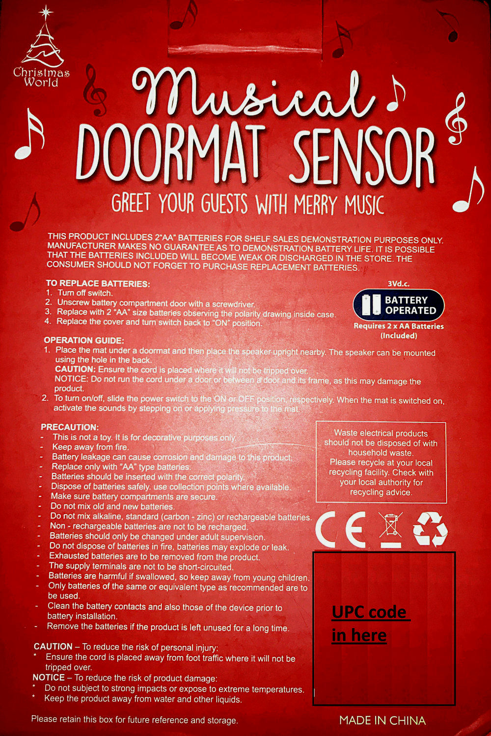 Musical door mat sensor for Merry Christmas