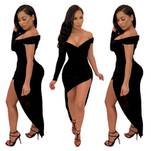 Modieuze sexy lange mouwen off shoulder zwarte <span class=keywords><strong>jurk</strong></span> <span class=keywords><strong>onregelmatige</strong></span> bodycon vrouwen <span class=keywords><strong>jurk</strong></span>