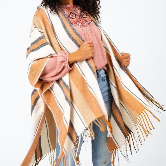 高品質冬暖かいポンチョストライプ女性ショールアクリルパシュミナショール寒さのために