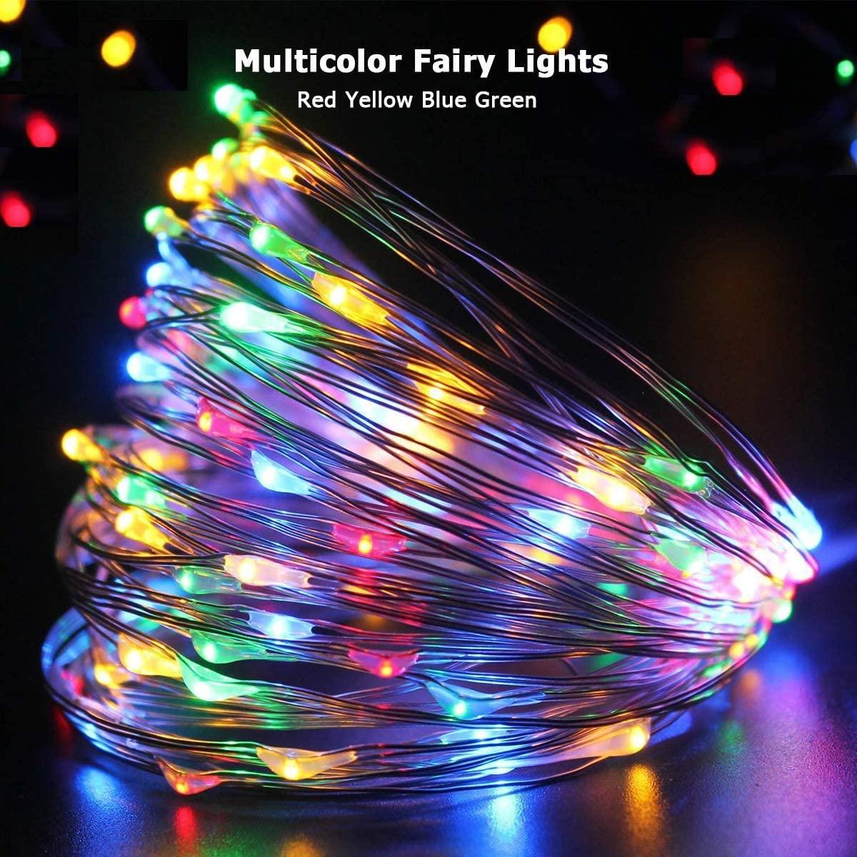 Fairy Stringไฟแบตเตอรี่Powered, 10M 100ไฟLEDกลางแจ้งกันน้ำสวน,8โหมดจับเวลา,XMASโคมไฟตกแต่ง