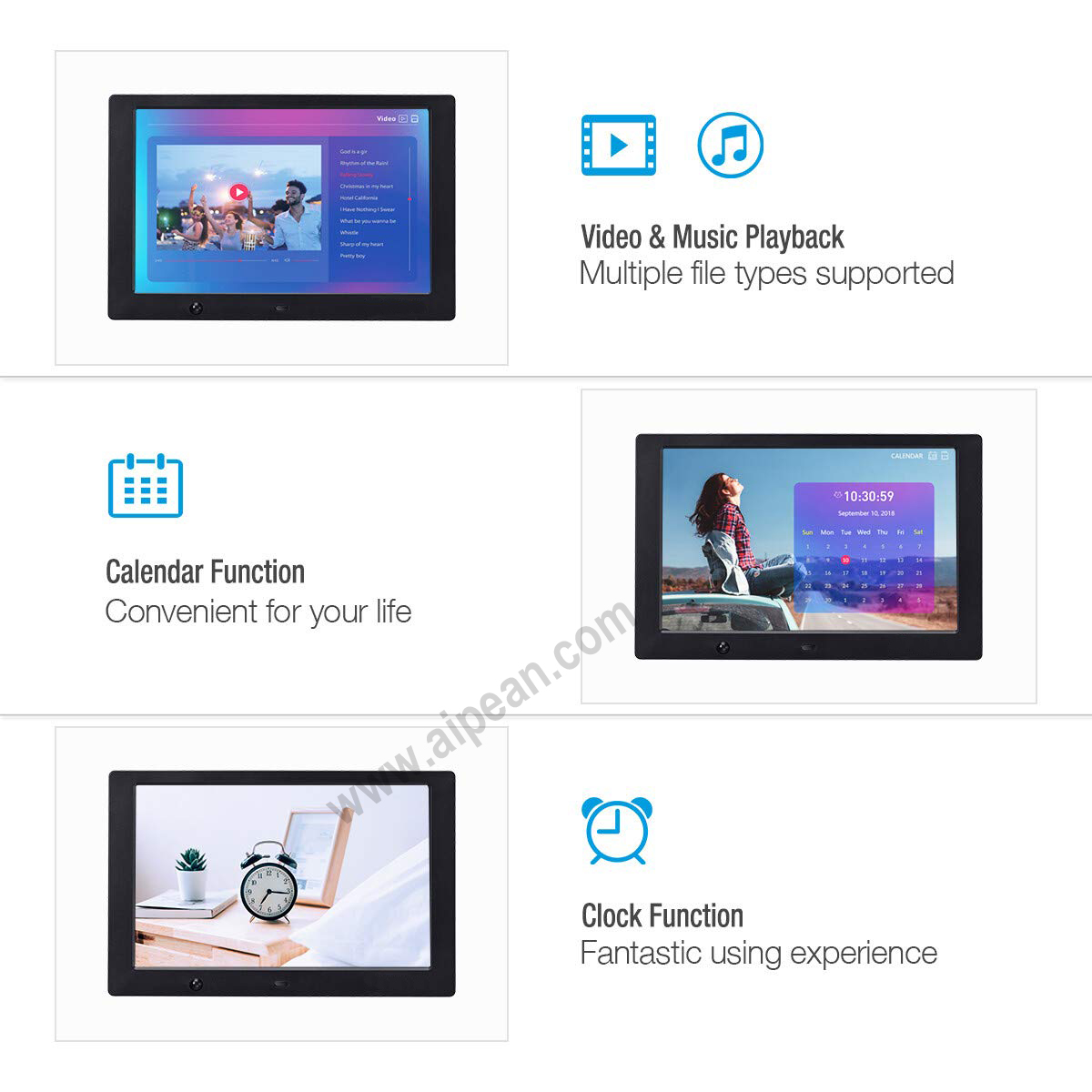 "Ap Motion Sensor 10 ""Inch Draagbare Mp3 Mp4 Media Player Plank Reclame Display Digitale Fotolijst Voor Cosmetica Product"