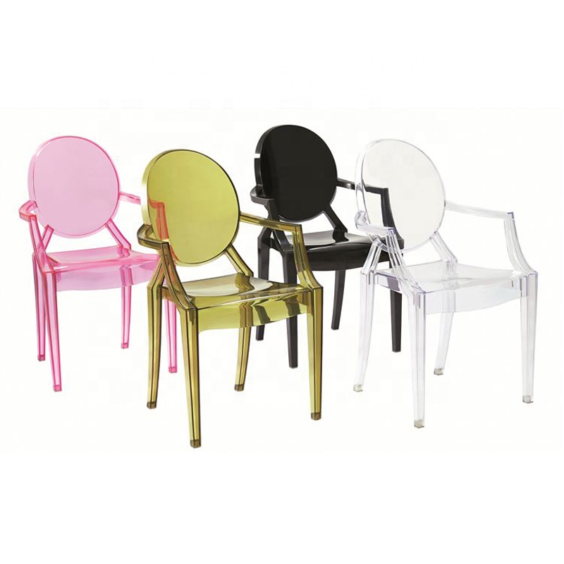 cheap home furniture armchair stackable transparent plastic dining chair for dining room