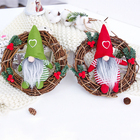 New holiday 3D decoration hanging gnome mini Christmas wreath for door