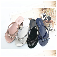 Last 200 pairs sell below cost womens beach slippers summer plastic flip flops jelly shoes electroplated bow shoes for girls