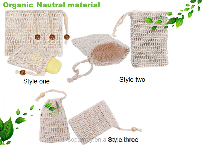 Sopurrrdy Wholesale High Quality Custom Logo Label Natural Color Sisal Soap Mesh Bag For Soap