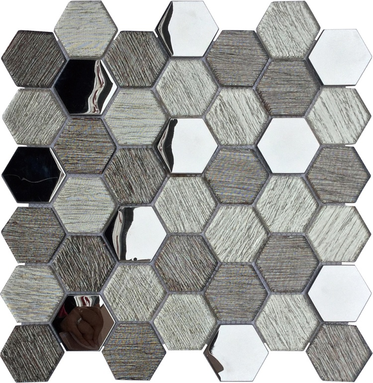 Top Selling Hexagonal Design glass mosaic , laminated and metal glass mosaic for Wall and kitchen Foshan China
