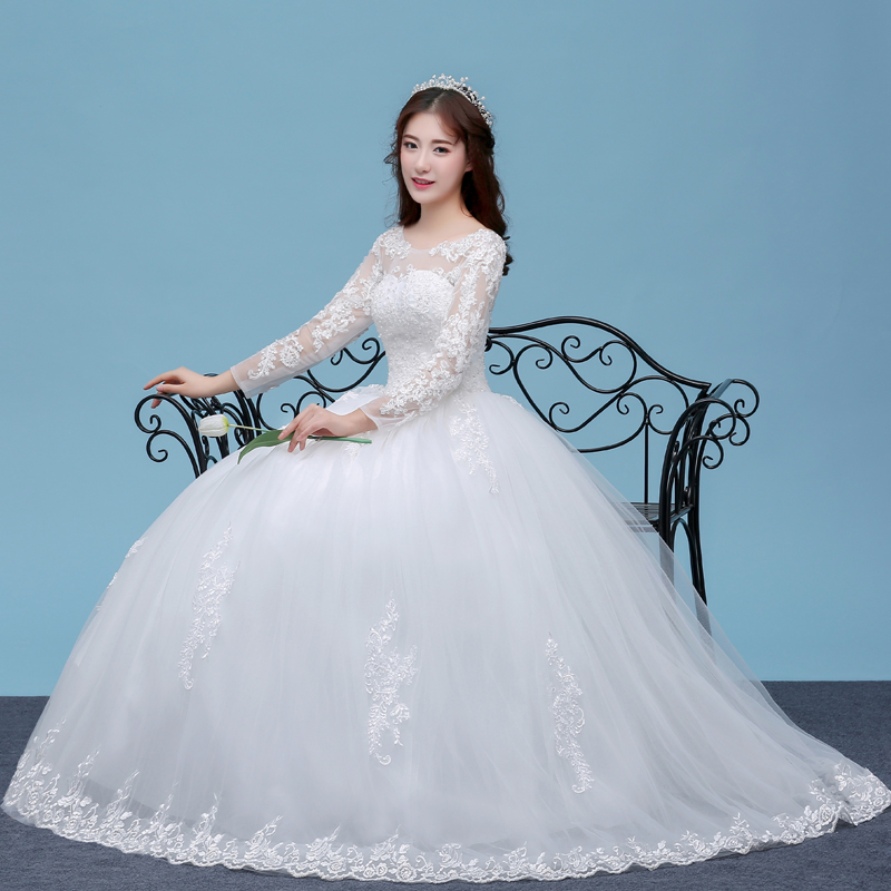 Elegan Tulle Lace Appliques Long Sleeve Ball Gown Wedding Dress For Bridal