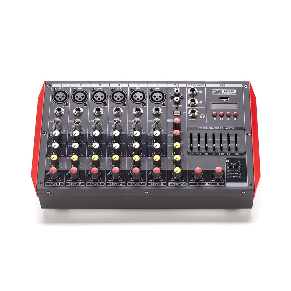 차선 OEM 8CH usb 오디오 믹서 직업적인 높 힘 건강한 장치