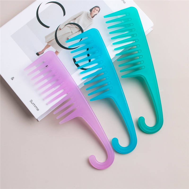 Ready To Ship Custom Logo Wide Tooth Barber Use Plastic Hair Detangling Comb