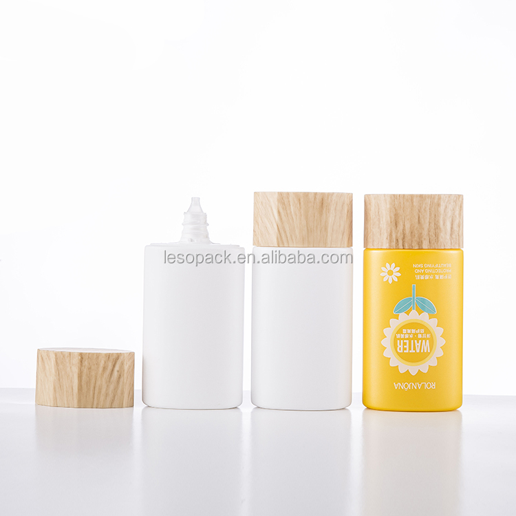 Wholesale 60ml HDPE Empty Maple leaf shape body lotion hand cream squeeze bottle with nozzle