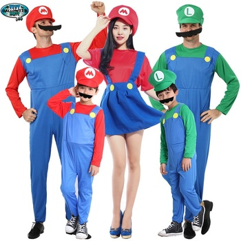 Cosplay Adults and Kids Super Mario Bros Cosplay Dance Costume Set Children Halloween Party MARIO & LUIGI Costume
