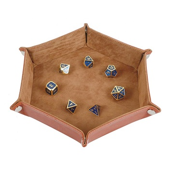 collapsible folding octagonal custom PU leather dice tray