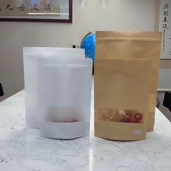 Дой-Пак коричневый крафт-бумага подарок стоя мешки для упаковки пищевых продуктов сумки с застежкой-молнией с окном