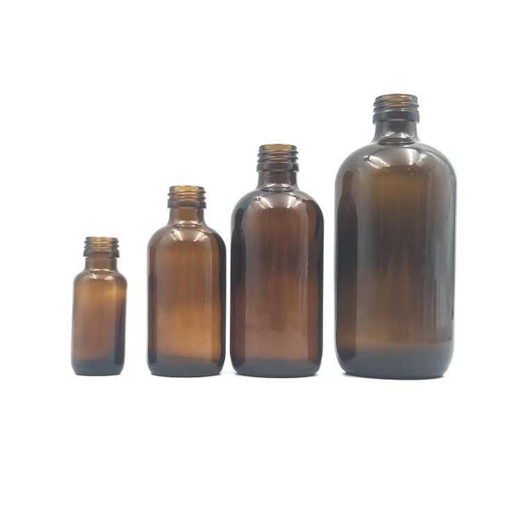 120ml amber boston round glass bottle