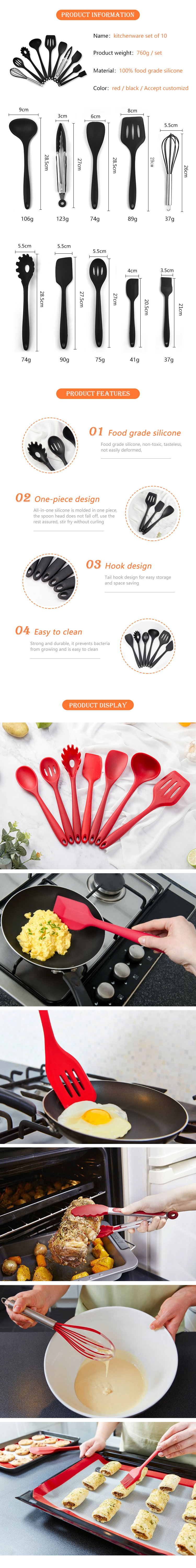 Fda Food Grade Silicone Kitchenware Set Home And Kitchen Furnitures Accessories Set 10 Piece